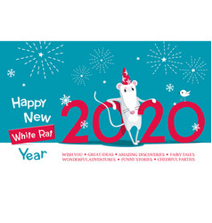 white metal rat 2020 vector image