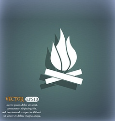A fire icon symbol on the blue-green abstract vector image