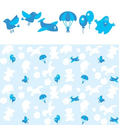 blue kid pattern vector image vector image