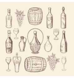 Hand drawn vineyard sketch and doodle wine vector image
