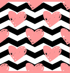 tile pattern with pink hearts chevron background vector image