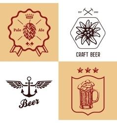 vintage craft beer bottles brewery label sign set vector image vector image
