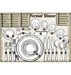 Vintage Hand Drawn Place Setting Formal Dinner vector image
