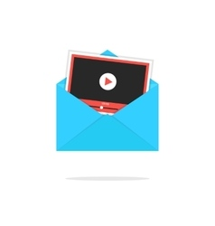 Blue open envelope with video player card vector