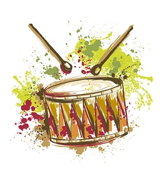 drum with splashes in watercolor style vector image