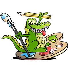 Hand-drawn of an Happy Creative Artist Crocodile vector image