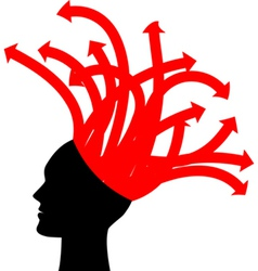 head with red arrows vector image
