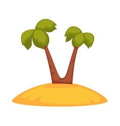 Palms on sandy island vector