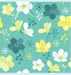 seamless floral pattern with colorful flowers vector image