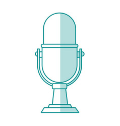 blue shading silhouette of desk microphone of vector image vector image