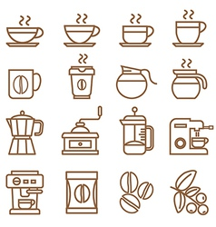 coffee icons set brown color vector image vector image