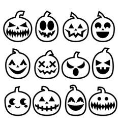 halloween pumpkins icon set halloween scar vector image vector image