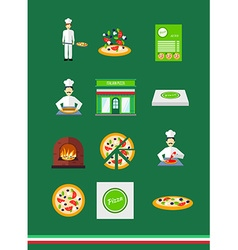 Pizza icons with pizzeria and chef set vector image vector image