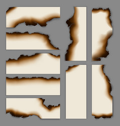 Realistic burnt scorched paper banners collection vector