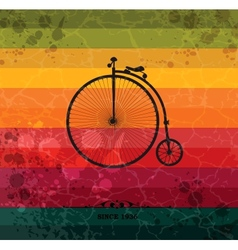 Retro bicycle on colorful geometric background vector image
