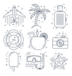 vacation thin line icons summer set vector image vector image