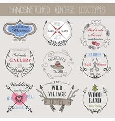Vintage logotype setDoodle hand sketchy vector image