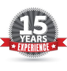 15 years experience retro label with red ribbon vector image