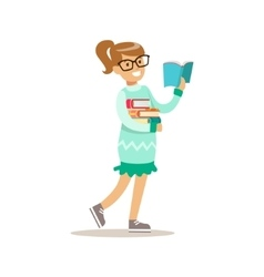 Girl in glasses who loves to read vector
