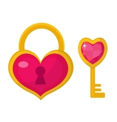 Heart lock and key icon flat design Valentines vector image