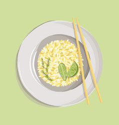 rice pilaf with turmeric powder rosemary lime vector image