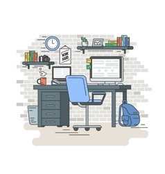 Student workplace room interior vector image vector image