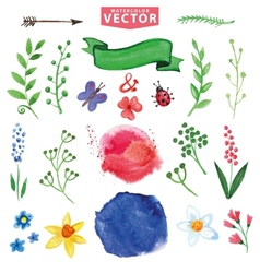 Watercolor floral decor branchesflowers set vector image vector image
