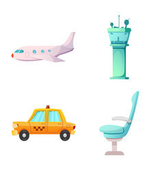 airport and airplane symbol vector image