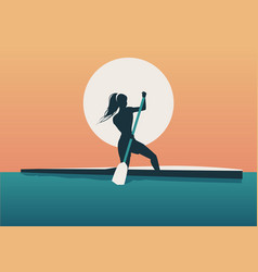 athlete girl with hair in the wind practicing vector image