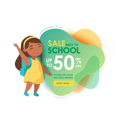 back to school sale banner with cute cartoon girl vector image