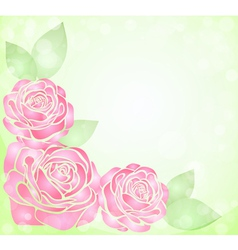 Background with glitter and pink roses in corner vector