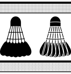 Badminton shuttlecock silhouette and stencil vector
