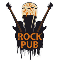 banner for rock pub with glass of beer and guitars vector image