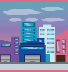 beautiful city with building towers vector image
