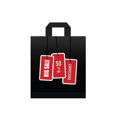 big sale on black paper bag vector image