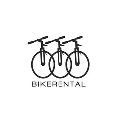 Bike rental logo design in a minimalist style vector