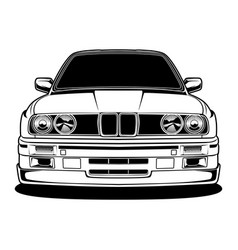 Black and white car vector