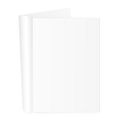 blank open magazine template with rolled pages vector image