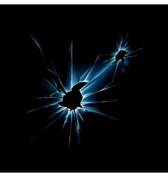 Blue Broken Glass Window with Sharp Edges vector image