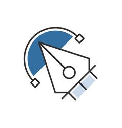blue pen tool icon design vector image