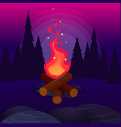Bonfire with sparks in night forest vector