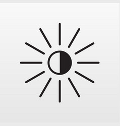 Bright icon isolated light sun modern fla vector