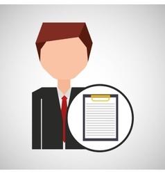 Businessman character clipboard concept vector