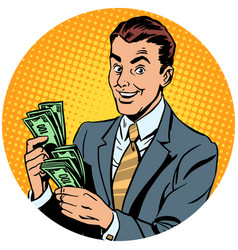 businessman counts money pop art avatar character vector image