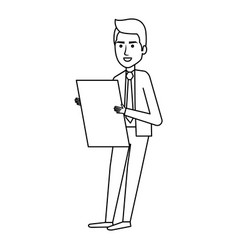 Businessman with documents avatar character icon vector