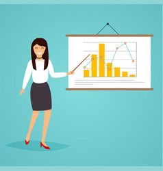 businesswoman giving a presentation with diagram vector image