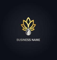 Cannabis leaf oil nature gold logo vector
