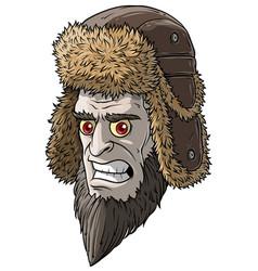 Cartoon angry pale devil man in fur winter hat vector
