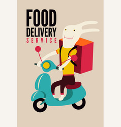 Cartoon rabbit with bag on scooter delivery food vector