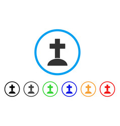 Cemetery cross rounded icon vector